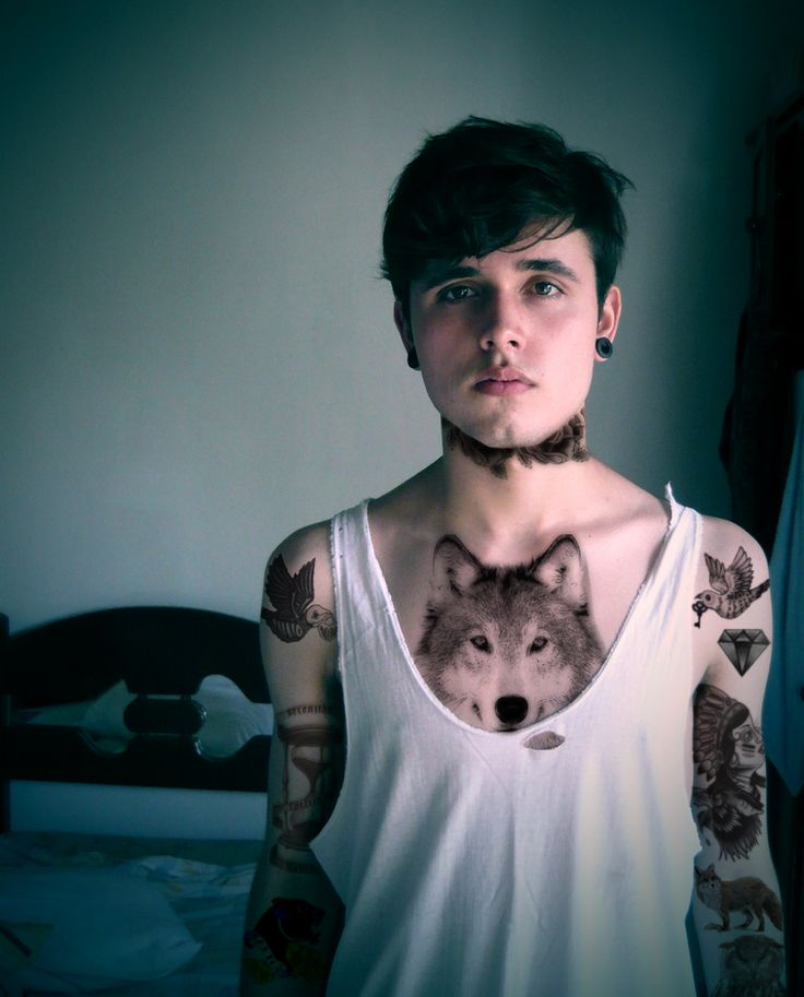 Wolf chest tattoo for girls